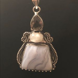 Jewelry - Amethyst blue lace agate pearl pendant